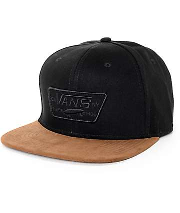 Vans Full Patch Black Twill & Brown Suede Snapback Hat