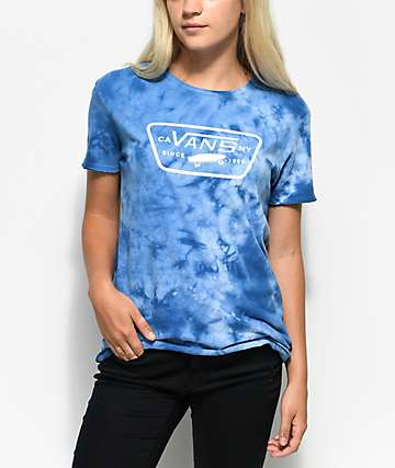 Vans Full Patch Blue Tie Dye Boyfriend T-Shirt