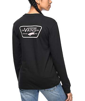Vans Fullpatch Black & Pink Long Sleeve T-Shirt