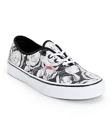 Vans Girls Authentic Digi Roses Black & White Shoes (Womens)