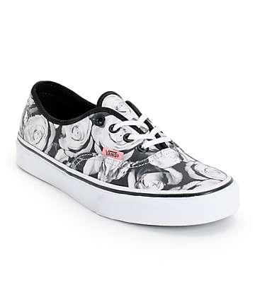 Vans Girls Authentic Digi Roses Black & White Shoes