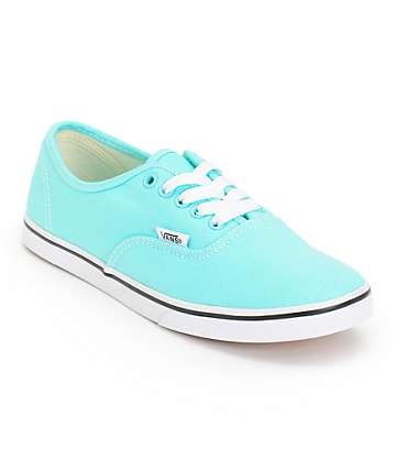 Vans Girls Authentic Lo Pro Aqua Splash & True White Shoes (Womens)