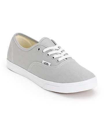 Vans Girls Authentic Lo Pro High Rise Grey & True White Shoes (Womens)
