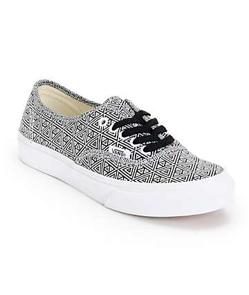 Vans Girls Authentic Slim Black & White Geo Print Shoes (Womens)