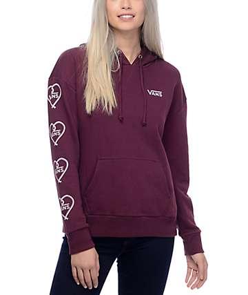 Vans Heart Sleeve Burgundy Pullover Hoodie