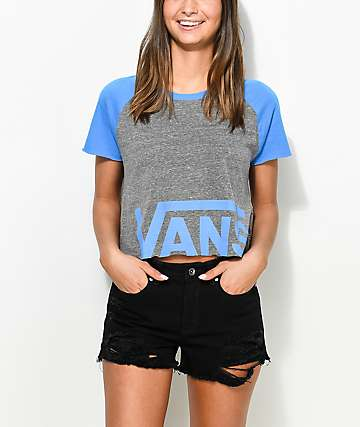 Vans Heather Grey & Blue Cut Off T-Shirt