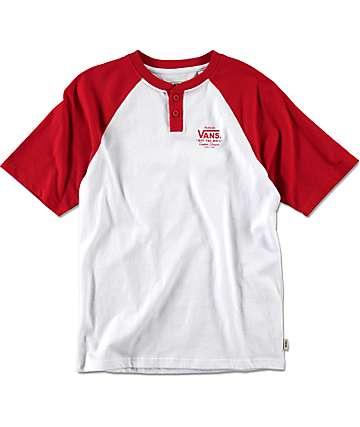 Vans Holder Street camiseta henley en blanco y rojo para niños