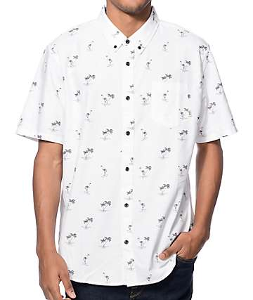 Vans Houser White Flocking Dead Button Up Shirt
