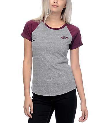 Vans OTW Heather Grey & Burgundy Cuffed Raglan T-Shirt