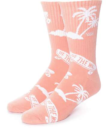 Vans OTW Palm Tree Pink Crew Socks
