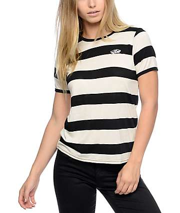 Vans Off The Wall Patch Black And White Rugby Stripe T-Shirt