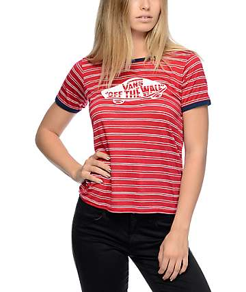 Vans Off The Wall Red & White Stripe Ringer T-Shirt