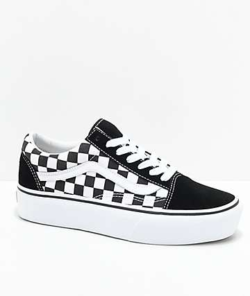 Vans Old Skool Black & White Checkered Platform Skate Shoes
