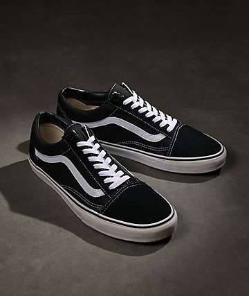 Vans Old Skool Black & White Skate Shoes (Mens)