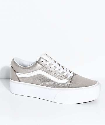 Vans Old Skool Gray Gold & True White Platform Skate Shoes