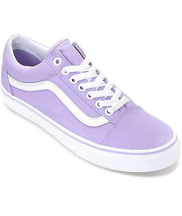 Vans Old Skool Lavender & White Canvas Shoes (Womens)