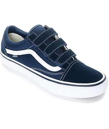 Vans Old Skool Prison Pro zapatos de skate en blanco y azul marino