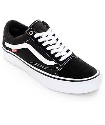 Vans Old Skool Pro Black & White Skate Shoes (Mens)