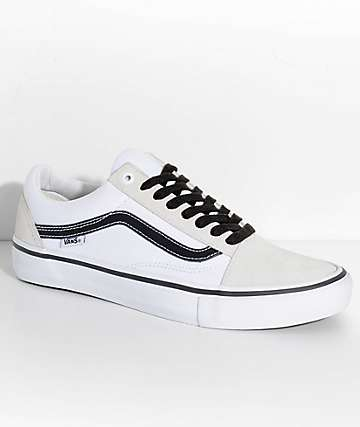 Vans Old Skool Pro Off White, White & Black Skate Shoes