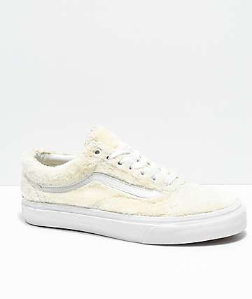 Vans Old Skool Turtledove White Sherpa Skate Shoes