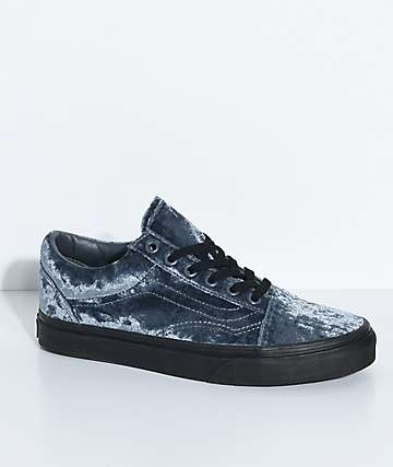 Vans Old Skool Velvet Grey & Black Skate Shoes