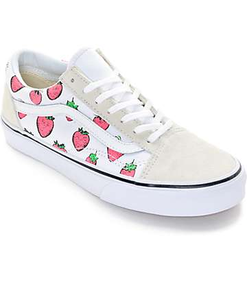 Vans Old Skool White & Strawberries Shoes (Womens)