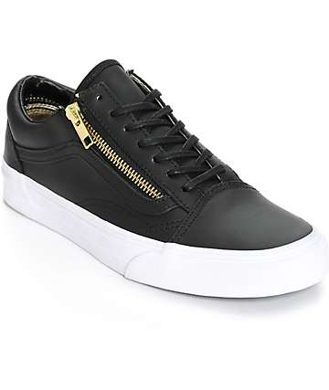 Vans Old Skool Zip Black Leather Shoes (Womens)