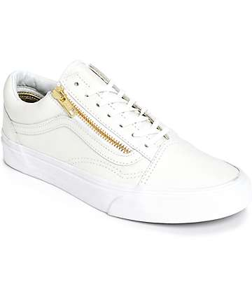 Vans Old Skool Zip White Leather Shoes (Womens)