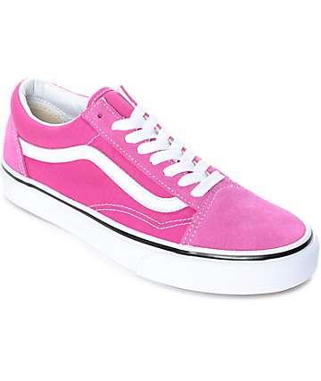 Vans Old Skool zapatos de skate en blanco y fuschia