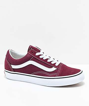 Vans Old Skool zapatos de skate en color borgoño y blanco
