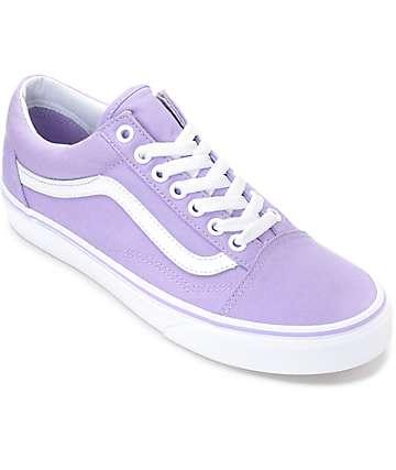Vans Old Skool zapatos de skate en color lavanda y blanco para mujeres