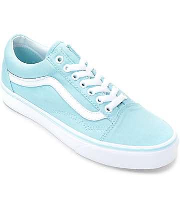 Vans Old Skool zapatos en blanco y azul pastel para mujeres