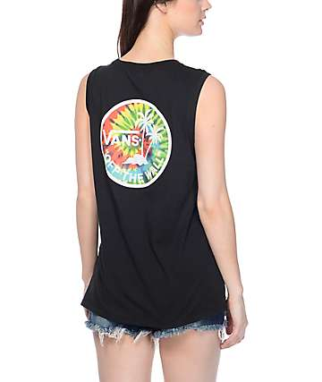 Vans Palm Tie Dye Black Muscle Tank Top