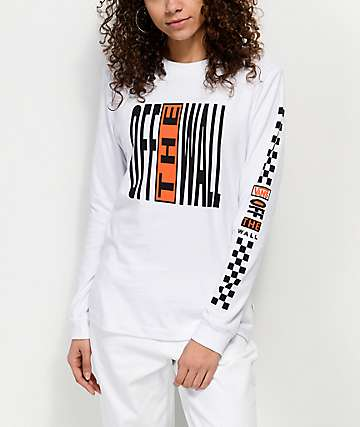 Vans Pinnacle White & Orange Long Sleeve T-Shirt