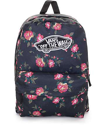 Vans Realm Black Floral Backpack