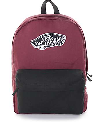 Vans Realm Burgundy & Black Colorblock Backpack