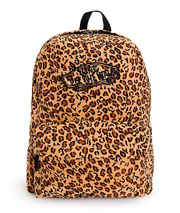 Vans Realm Mocha Brown Leopard Print Backpack