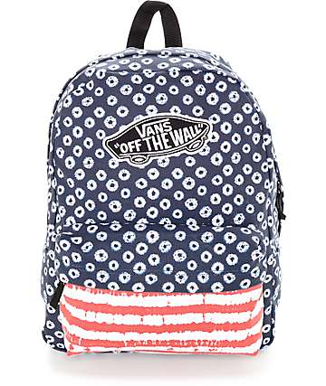 Vans Realm Red, White & Blue Dyed Dots & Stripes Backpack
