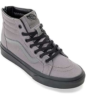 Vans Sk8 Hi Black & Pewter Youth Skate Shoes