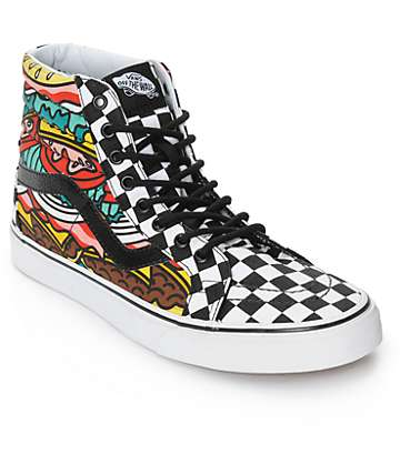 Vans Sk8-Hi Burger Checkerboard Skate Shoes (Mens)