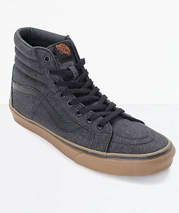 Vans Sk8-Hi CL Black Denim & Gum Skate Shoes (mens)