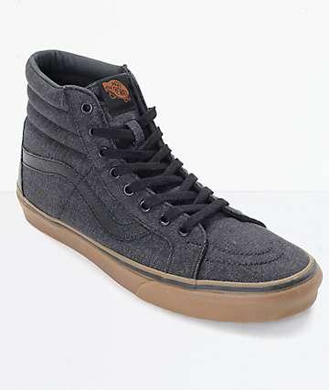 Vans Sk8-Hi CL zapatos de skate en denim negro y goma (Hombre)