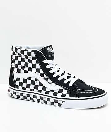 Vans Sk8-Hi Checkered Black & True White Skate Shoes