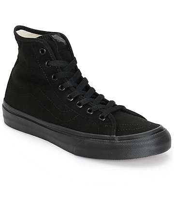 Vans Sk8-Hi Decon Black Canvas Shoes (Womens)