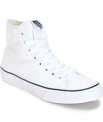 Vans Sk8-Hi Decon White Canvas Shoes (Womens)