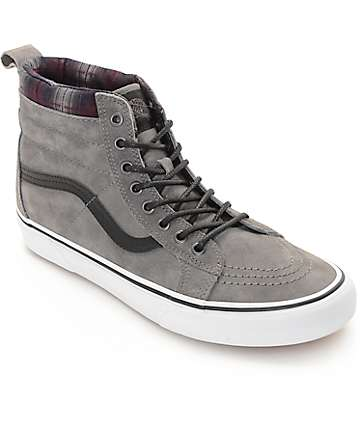 Vans Sk8-Hi MTE Pewter and Plaid Shoes (Mens)