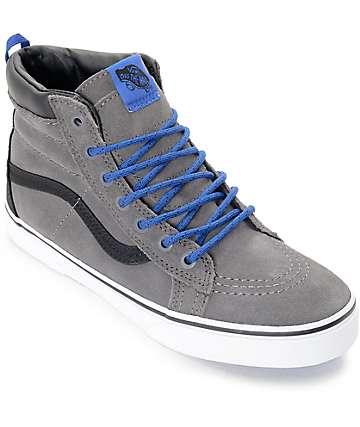 Vans Sk8-Hi MTE zapatos de skate en gris y azul para niños