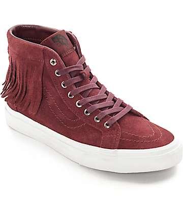 Vans Sk8-Hi Moc en rojo tinto (Mujer)