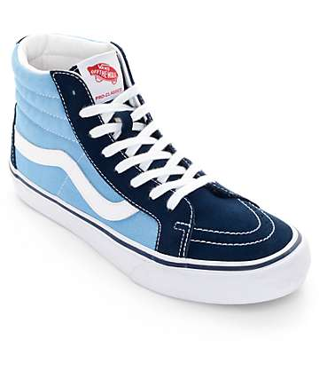 Vans Sk8-Hi Pro 50th Navy and White Skate Shoes (Mens)