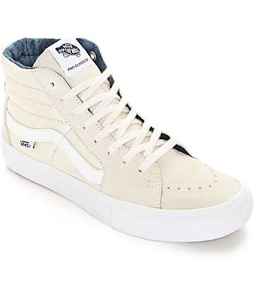 Vans Sk8-Hi Pro Acid Wash White Skate Shoes (Mens)